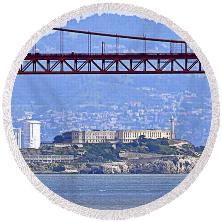 Scenic Round Beach Towel featuring the photograph Alcatraz Through The Golden Gate by AJ Schibig
