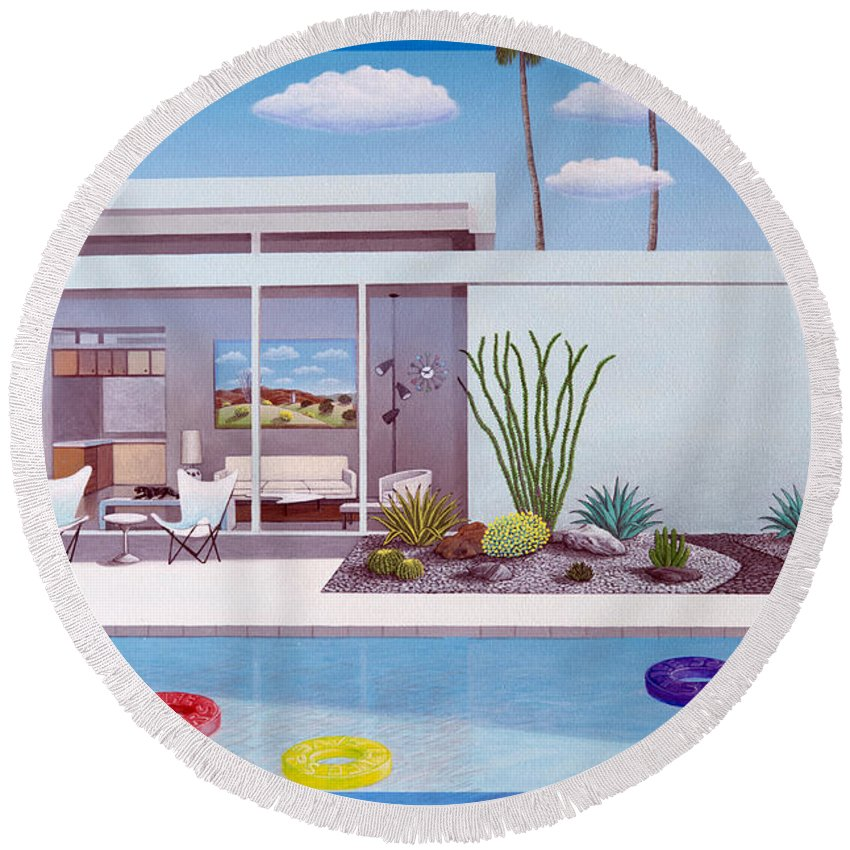 Mid Century Modern Round Beach Towel featuring the painting Alexanders Place by Snake Jagger