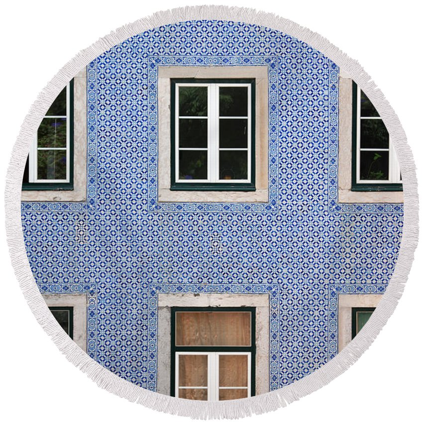 Building Facade Round Beach Towel featuring the photograph Alfama 2 by Rod McLean