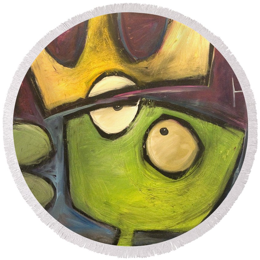 Alien Round Beach Towel featuring the painting Alien King by Tim Nyberg