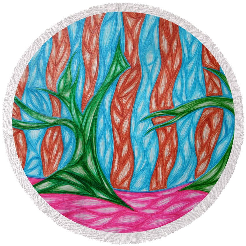 Green Blue Round Beach Towel featuring the digital art Alien Sun Dance by Jamie Lynn