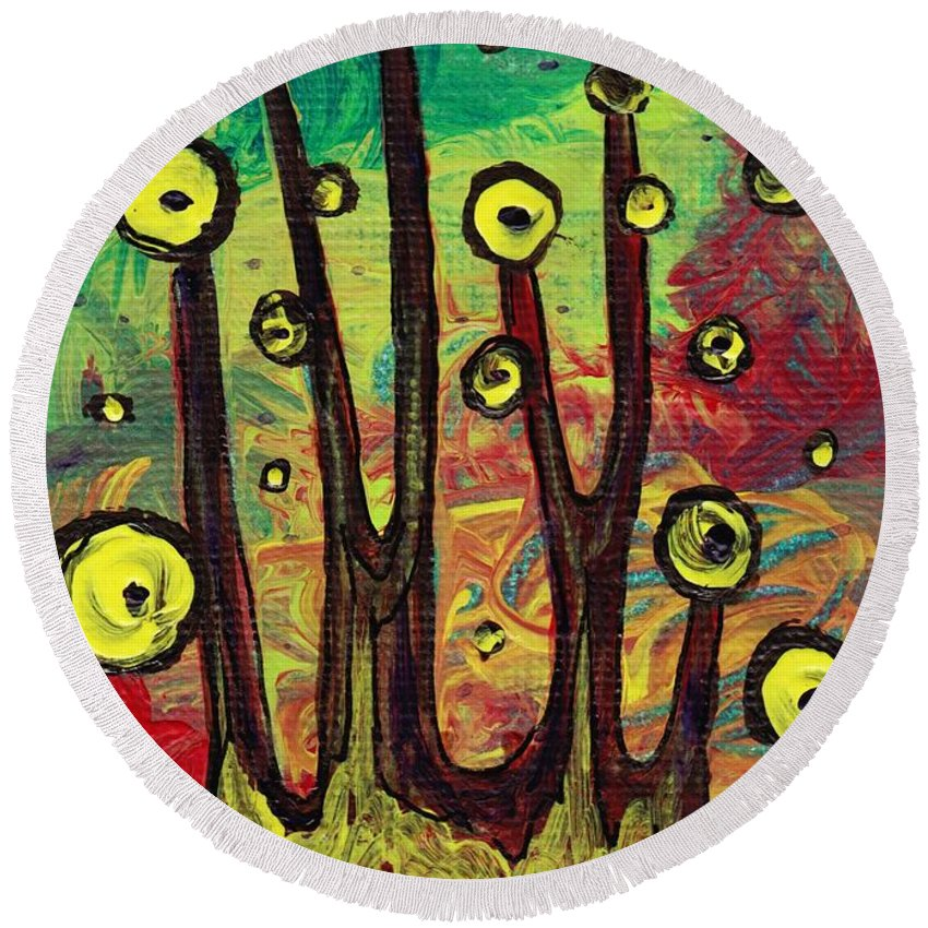 Abstract Round Beach Towel featuring the painting All Eyes On You by Anastasiya Malakhova