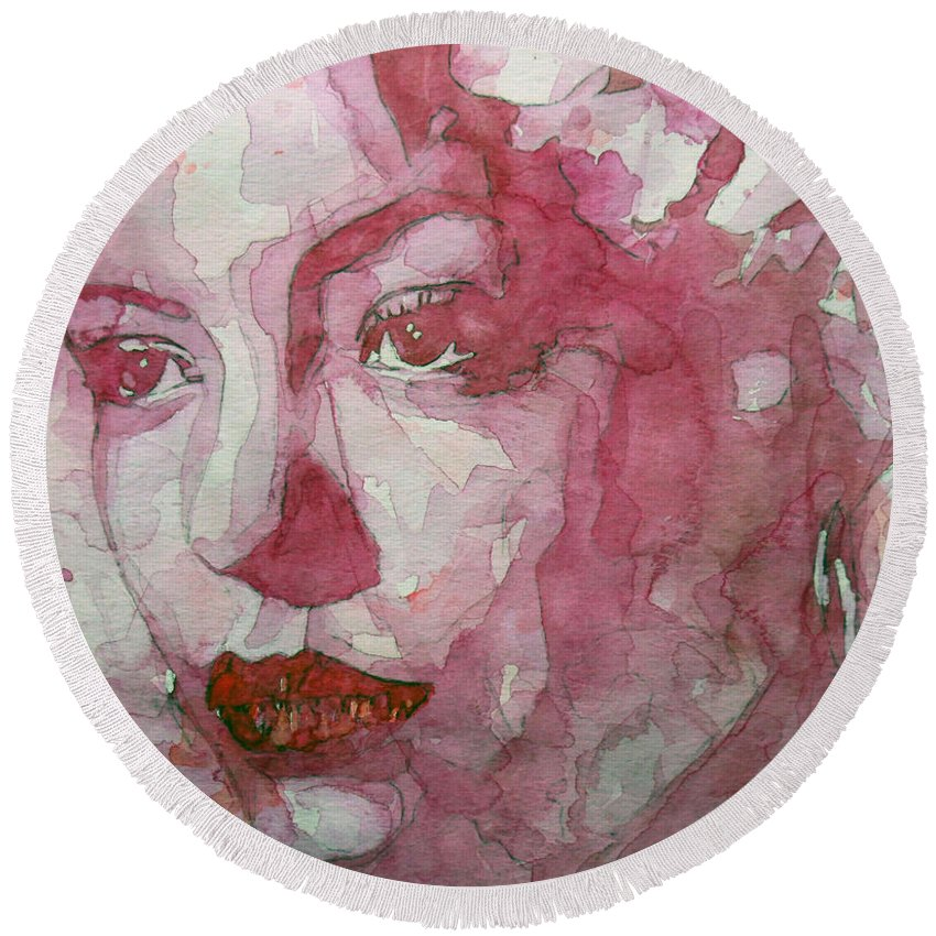 Billie Holiday Round Beach Towel featuring the painting All Of Me by Paul Lovering