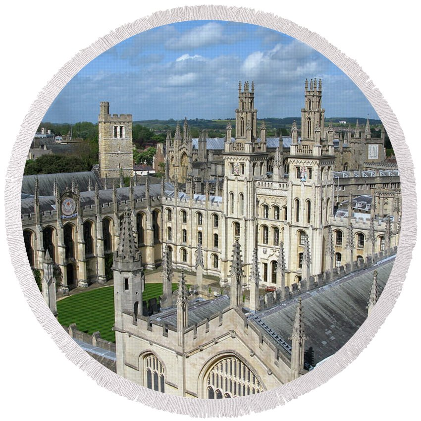 Oxford Round Beach Towel featuring the photograph All Souls College by Ann Horn