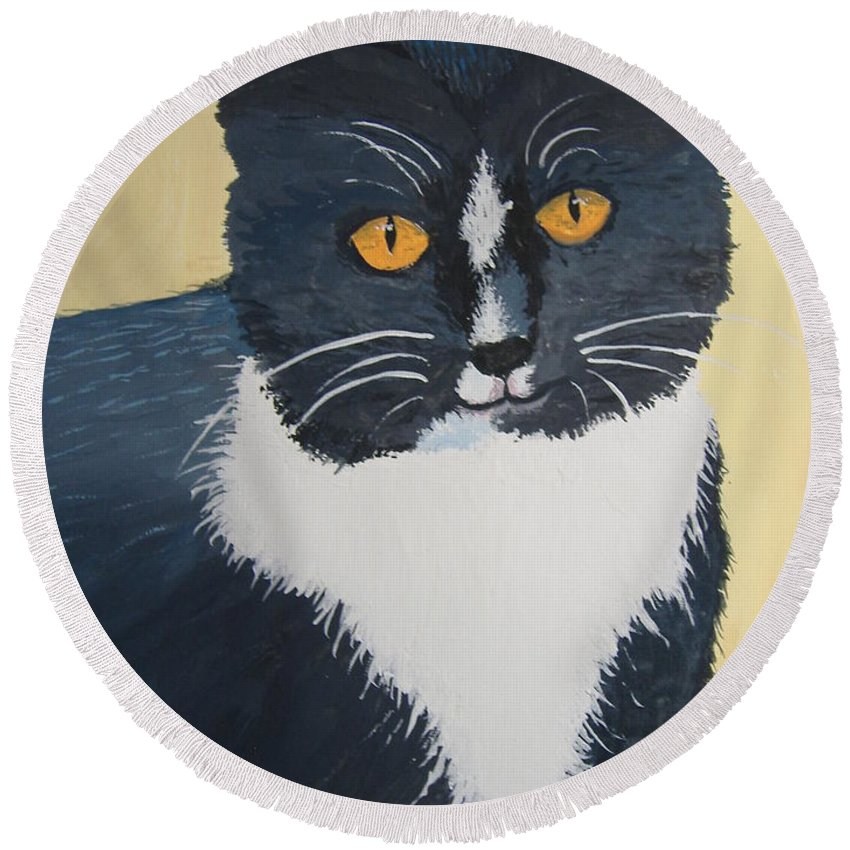 Cat Round Beach Towel featuring the painting All Sweetness by Norm Starks