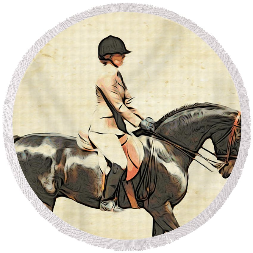 Horse Round Beach Towel featuring the photograph All Turned Out by Alice Gipson
