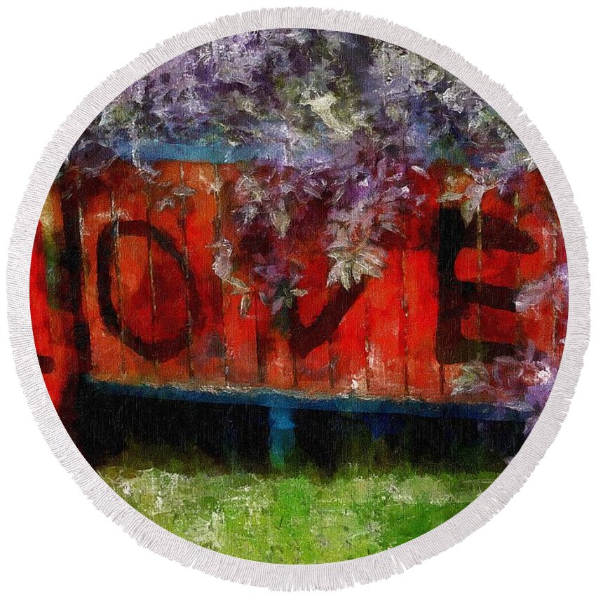 Landscape Round Beach Towel featuring the painting All You Need Is... by RC DeWinter