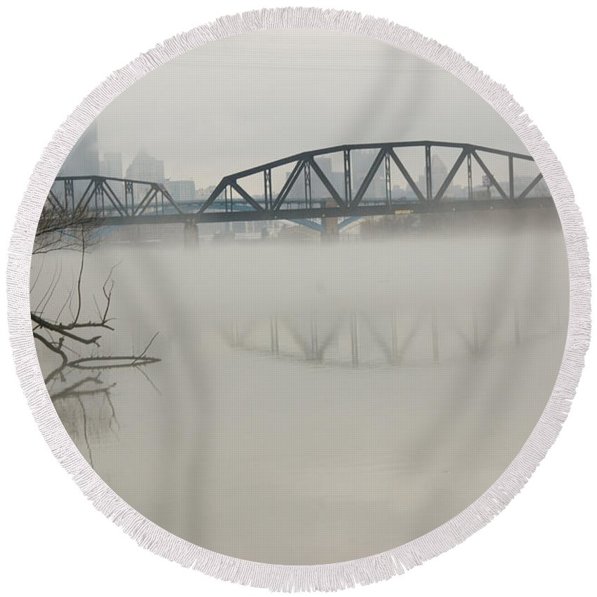 Landscape Round Beach Towel featuring the photograph Allegheny In The Mist by Jay Ressler