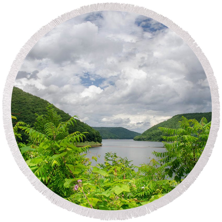 Allegheny Reservoir Round Beach Towel featuring the photograph Allegheny Reservoir by Guy Whiteley
