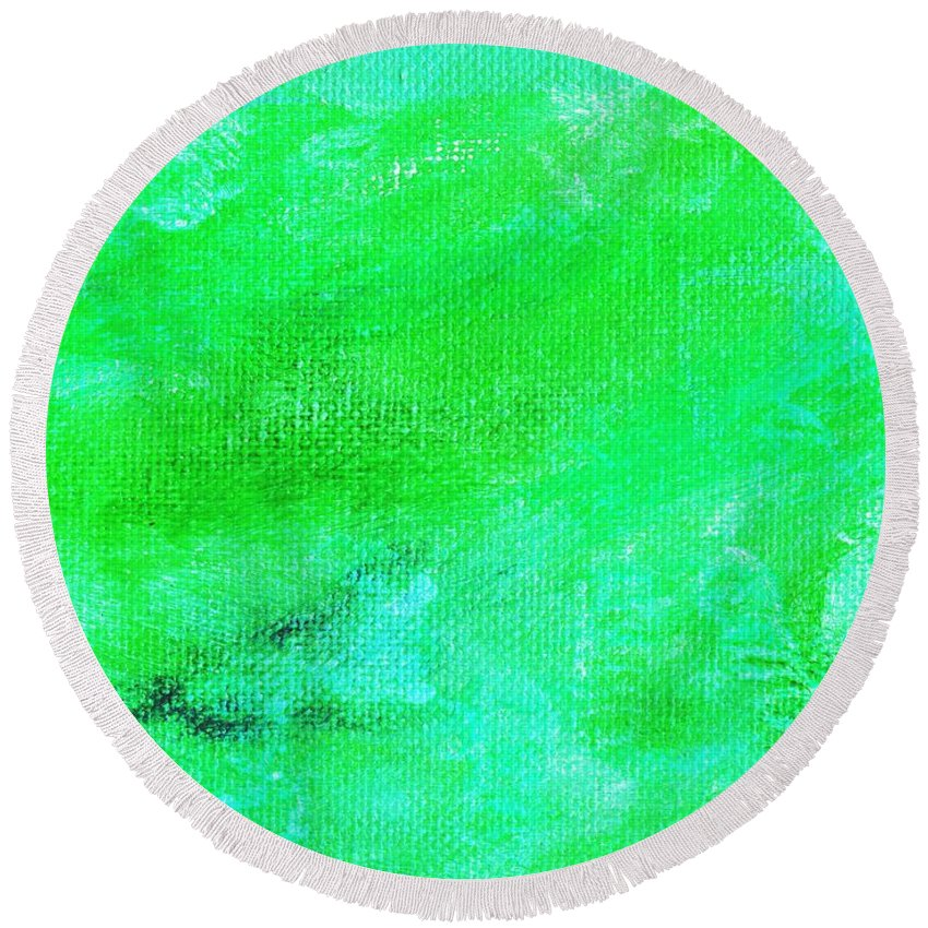 Abstract Round Beach Towel featuring the painting Allegory Aqua Green by L J Smith