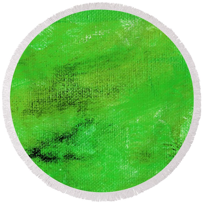 Abstract Round Beach Towel featuring the painting Allegory Emerald Green by L J Smith
