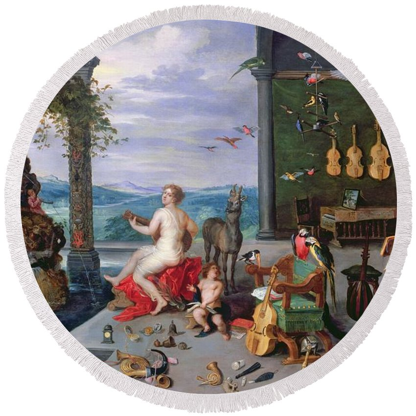 C16th Round Beach Towel featuring the photograph Allegory Of Music Oil On Canvas by Jan the Elder Brueghel