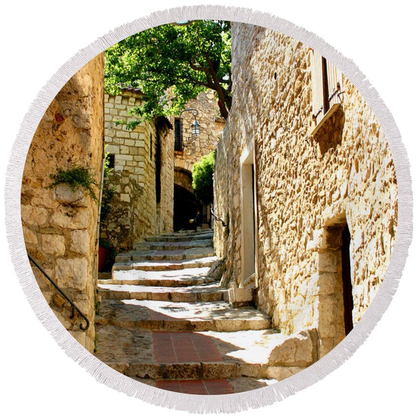 Eze Round Beach Towel featuring the photograph Alley In Eze, France by Holly C. Freeman