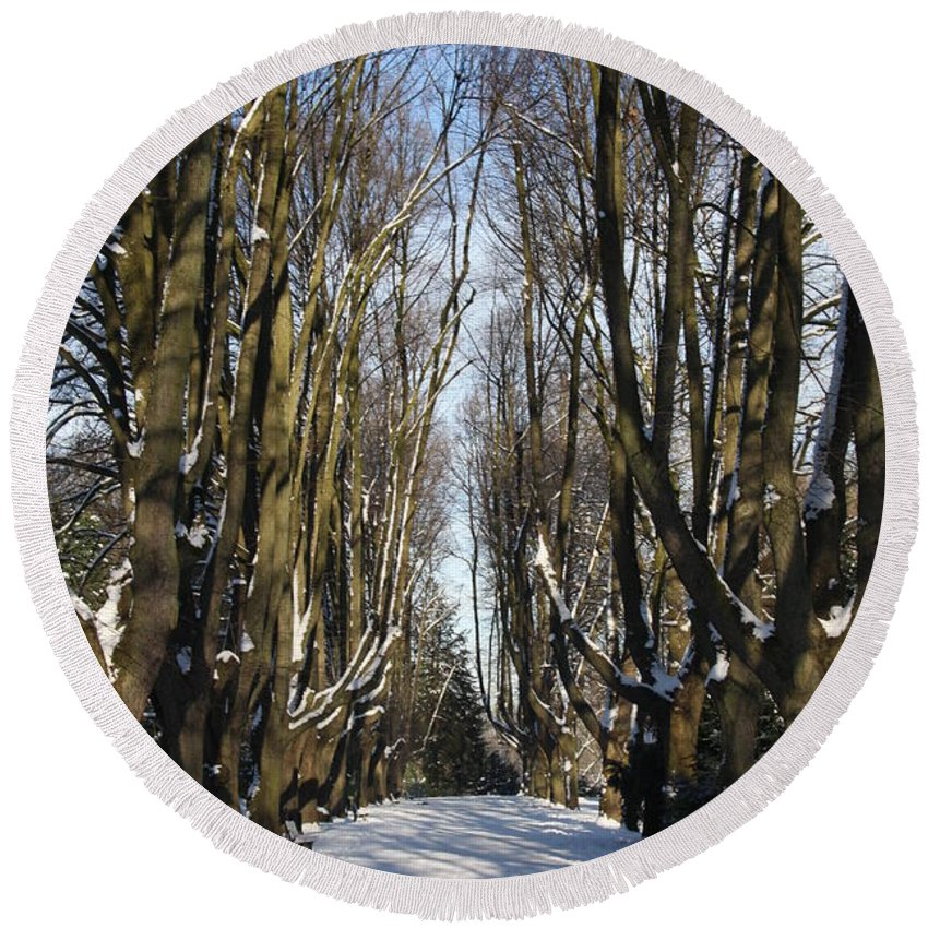 Trees Round Beach Towel featuring the photograph Alley In The Snow by Christiane Schulze Art And Photography