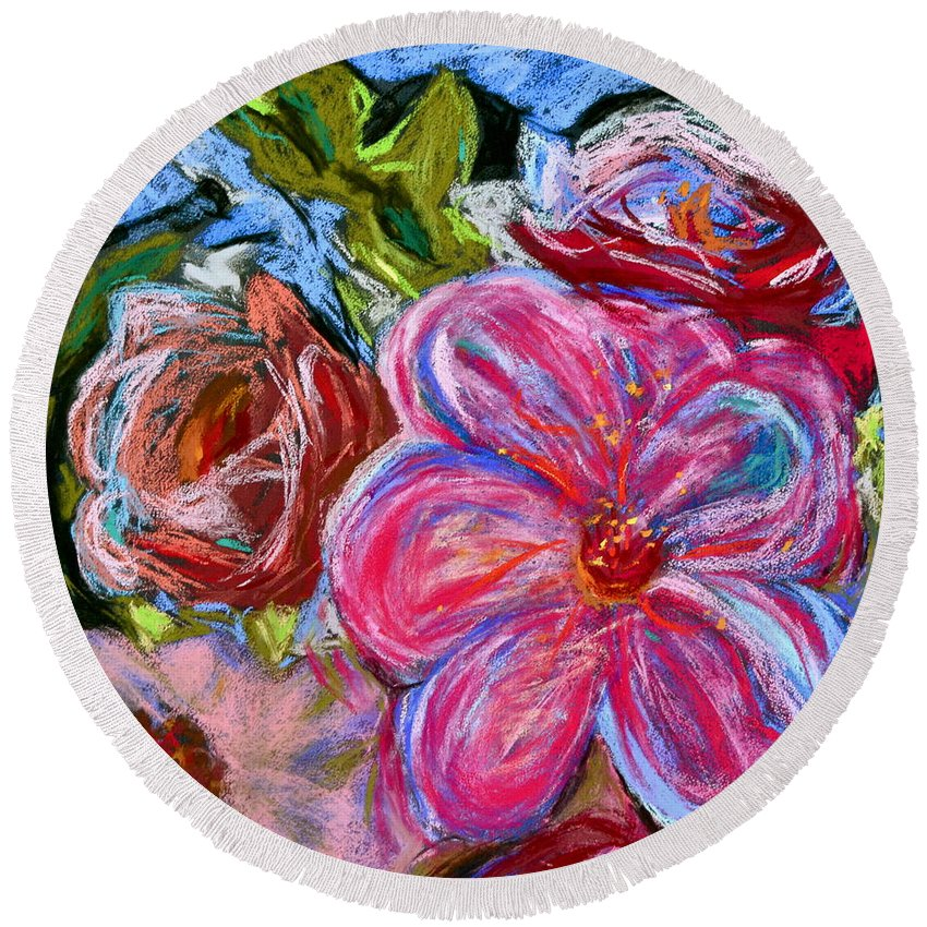 Flower Round Beach Towel featuring the painting Allure by Beverley Harper Tinsley