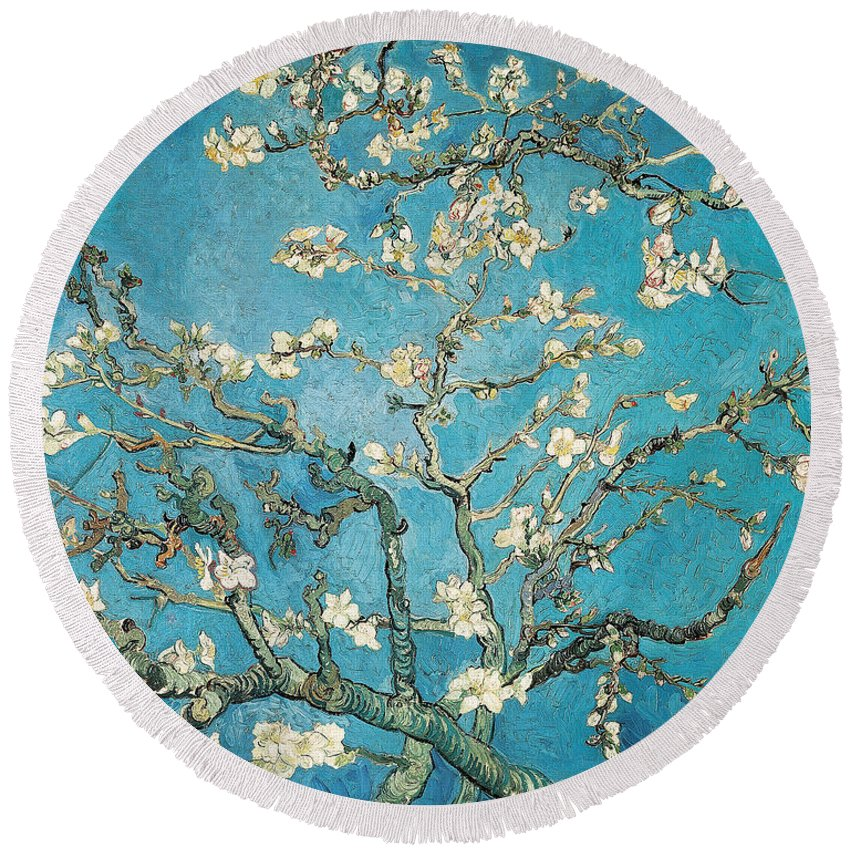 Van Round Beach Towel featuring the painting Almond branches in bloom by Vincent van Gogh