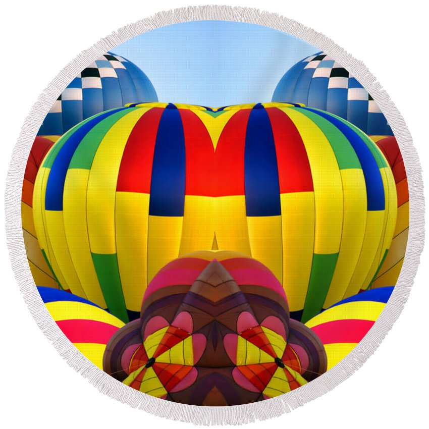 Transportation Round Beach Towel featuring the photograph Almost Inflated Hot Air Balloons Mirror Image by Thomas Woolworth