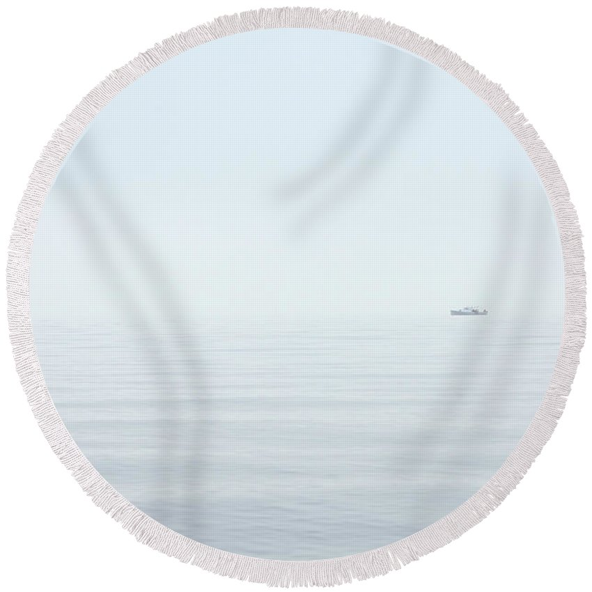 Coastal Round Beach Towel featuring the photograph Almost Invisible by Karol Livote