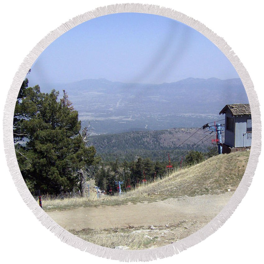 Mountain Round Beach Towel featuring the photograph Almost There by Lovina Wright