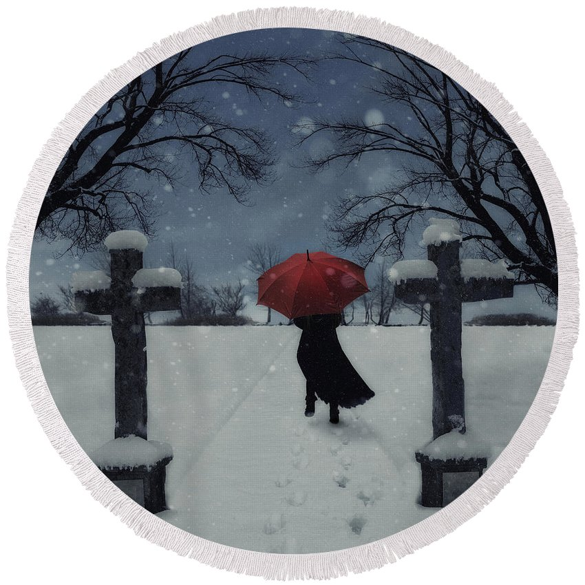 Woman Round Beach Towel featuring the photograph Alone In The Snow by Joana Kruse