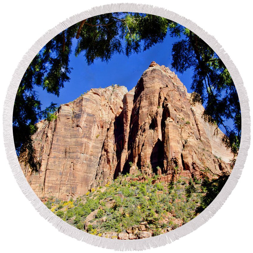 Zion National Park Utah Round Beach Towel featuring the photograph Along Emeral Pools Trail - Zion by Jon Berghoff