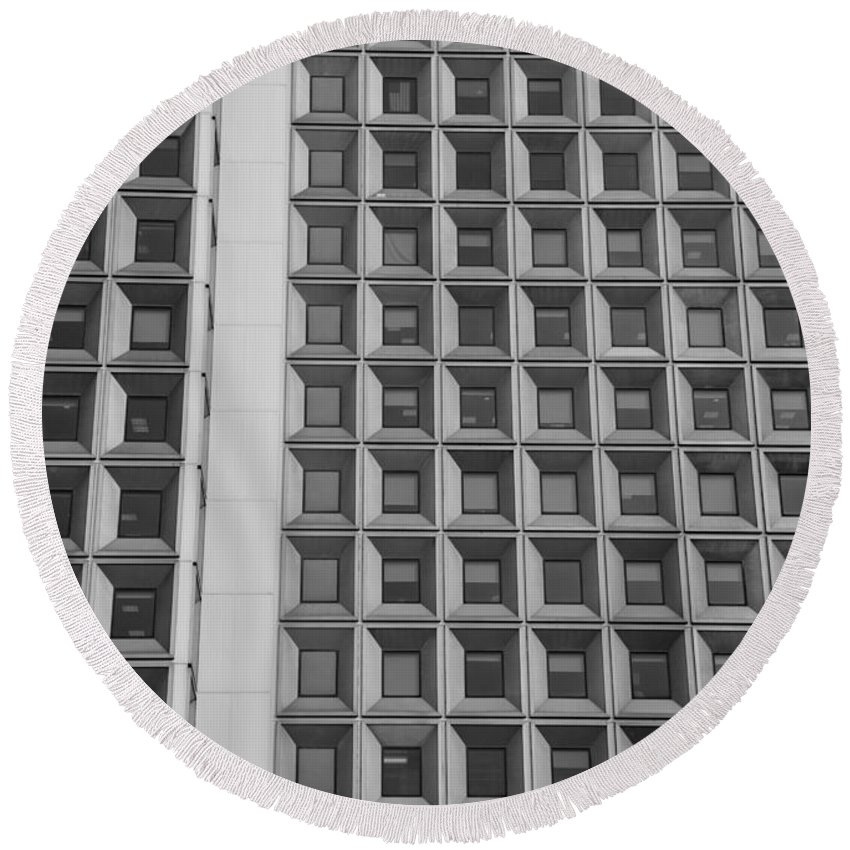 Abstract Round Beach Towel featuring the photograph Alot Of Windows In Black And White by Rob Hans