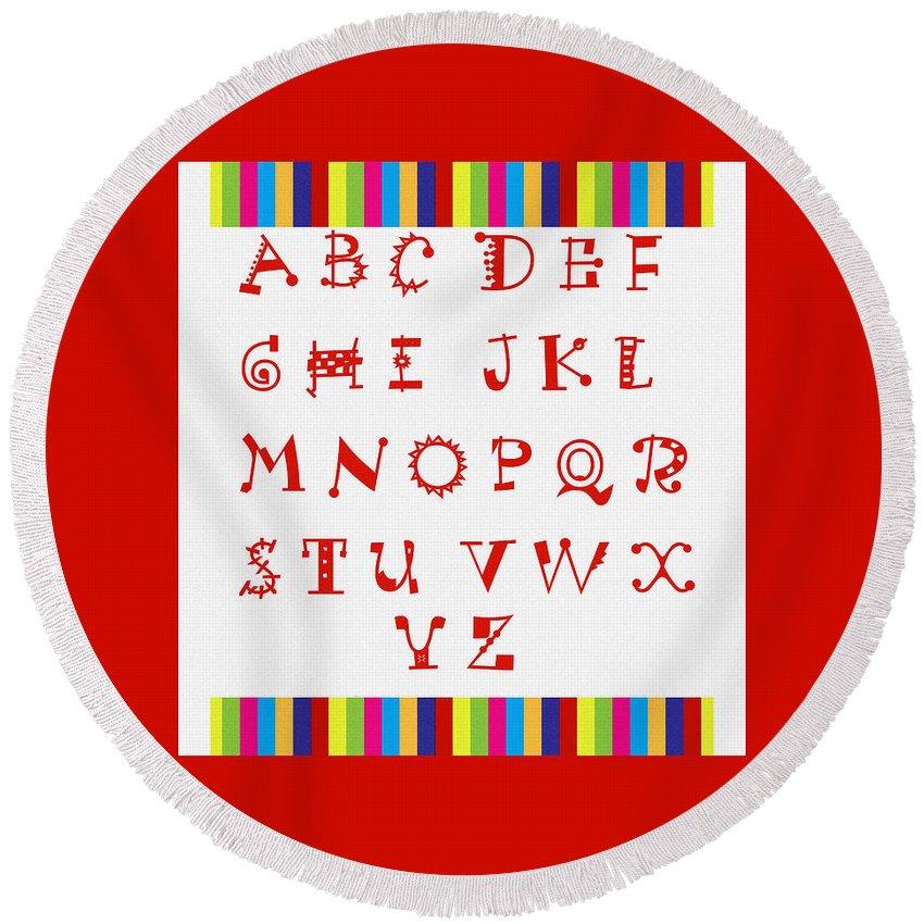 Alphabet Red Round Beach Towel featuring the digital art Alphabet Red by Barbara Griffin
