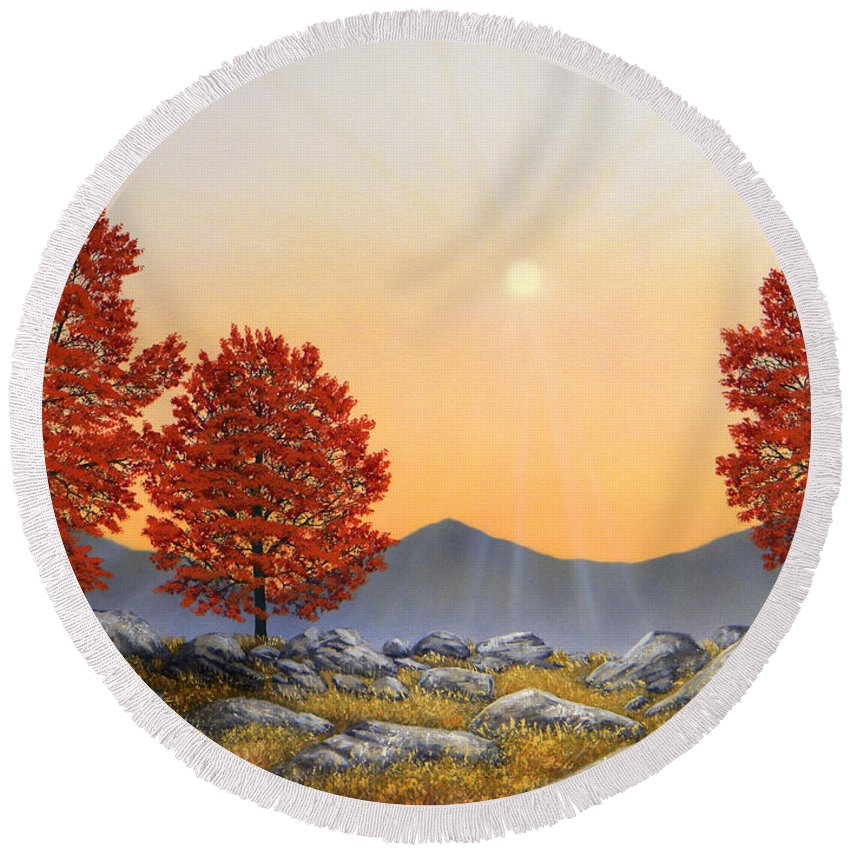 Mountains Round Beach Towel featuring the painting Alpine Meadow II by Frank Wilson