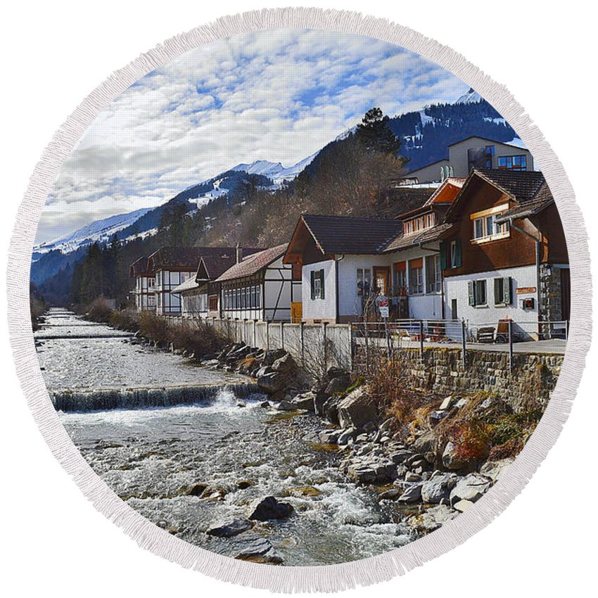 Alps Round Beach Towel featuring the photograph Alps Vicinity by Felicia Tica