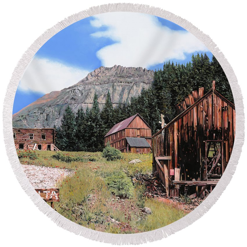 Ghost Town Round Beach Towel featuring the painting Alta In Colorado by Guido Borelli