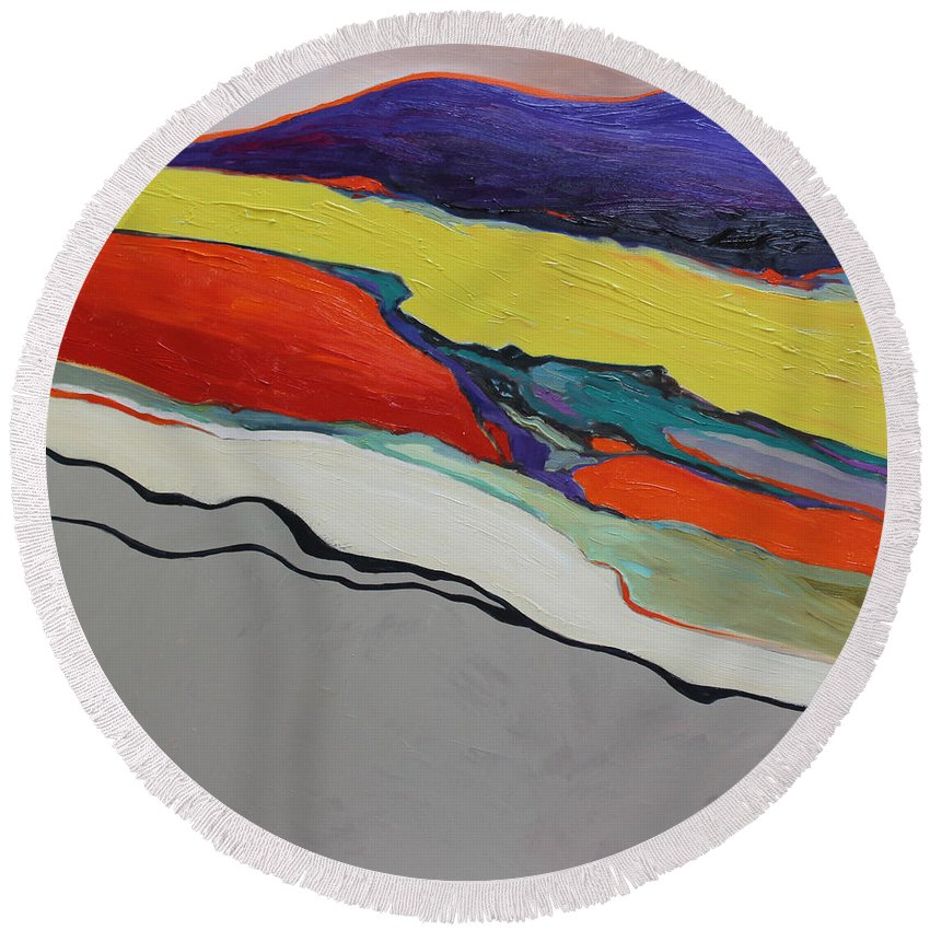 Abstract Round Beach Towel featuring the painting Altered Landscape by Maralyn Miller