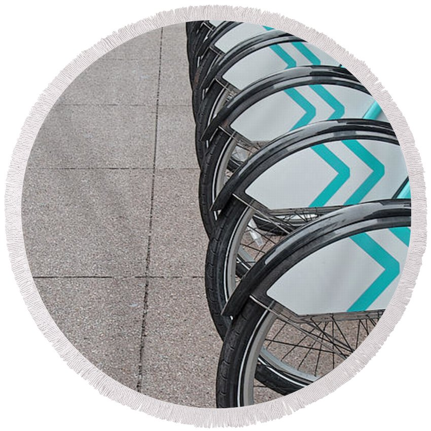 Bicycles Round Beach Towel featuring the photograph Alternatives by Ann Horn