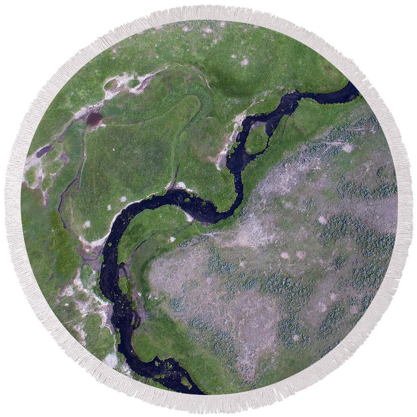 North America Round Beach Towel featuring the photograph Alum Creek by Max Waugh