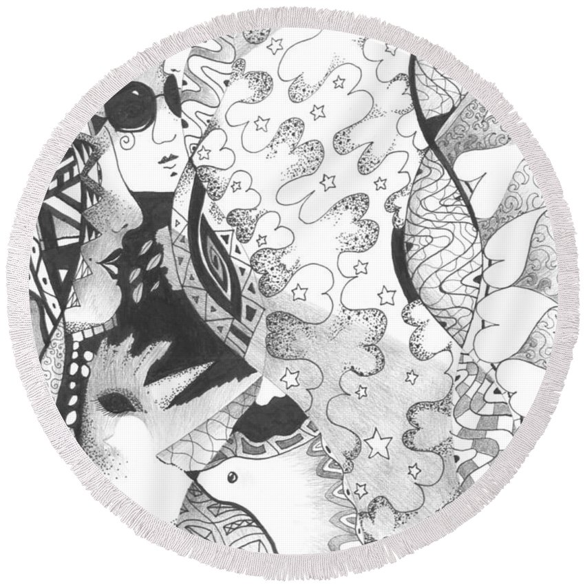 Abstract Round Beach Towel featuring the drawing Always A Choice by Helena Tiainen