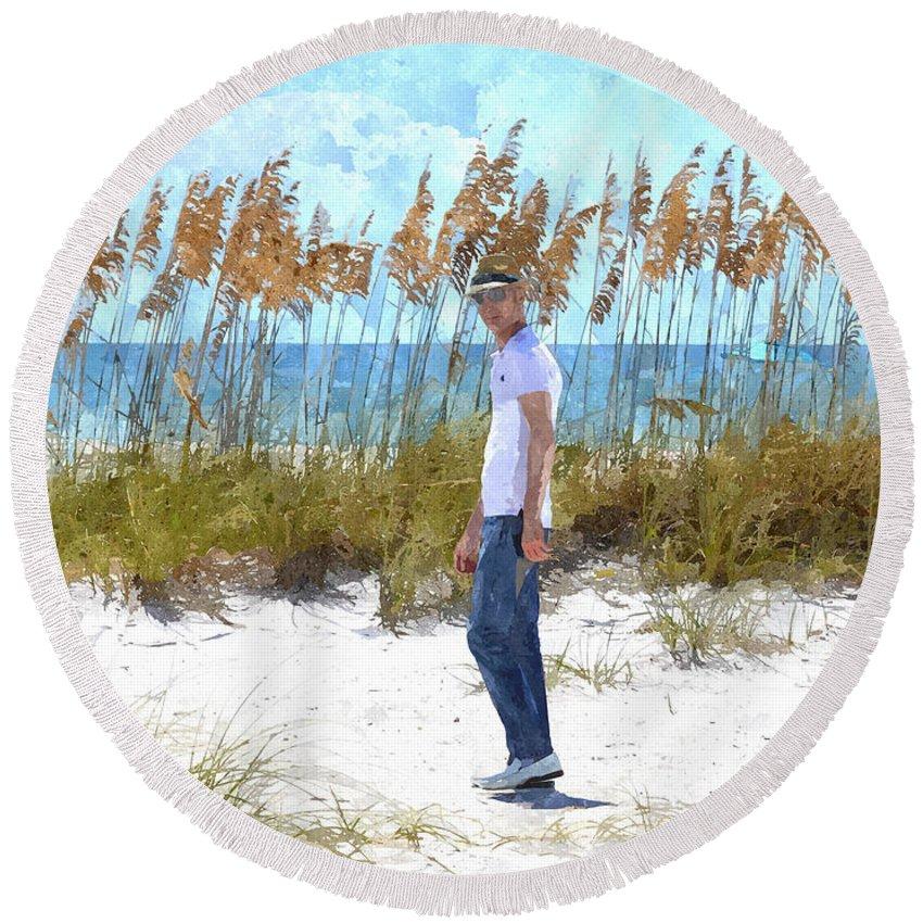 susan Molnar Round Beach Towel featuring the photograph Cool On Anna Maria Island by Susan Molnar