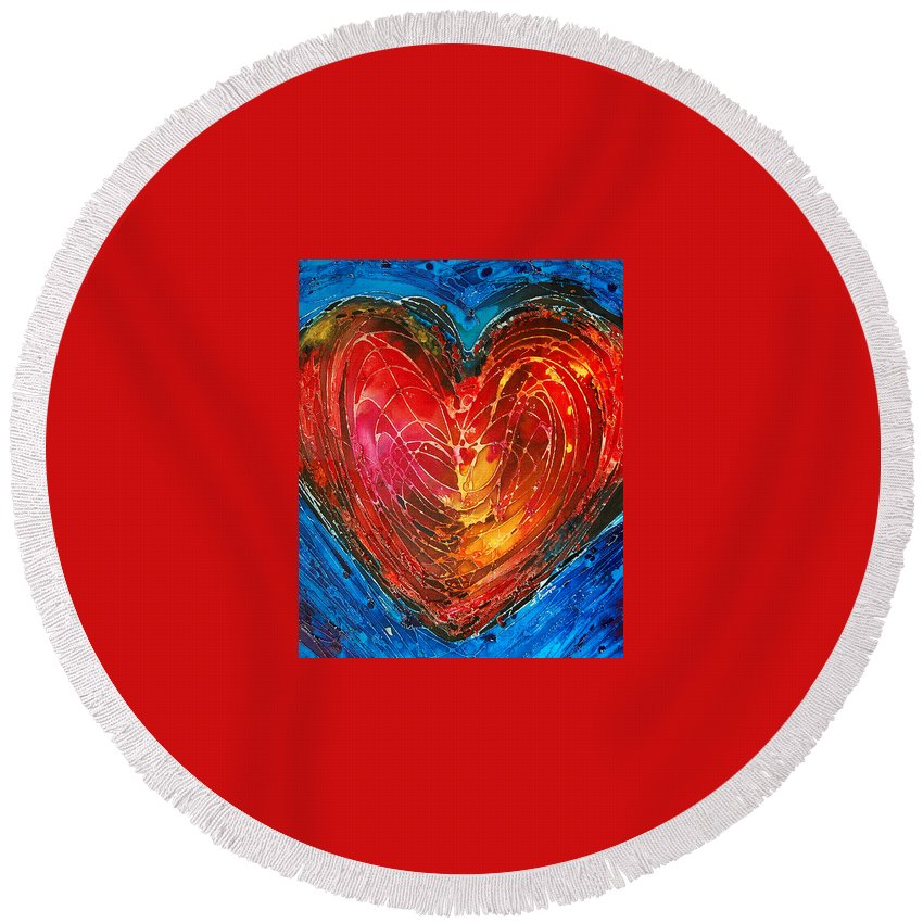 Heart Round Beach Towel featuring the painting Always by Sharon Cummings