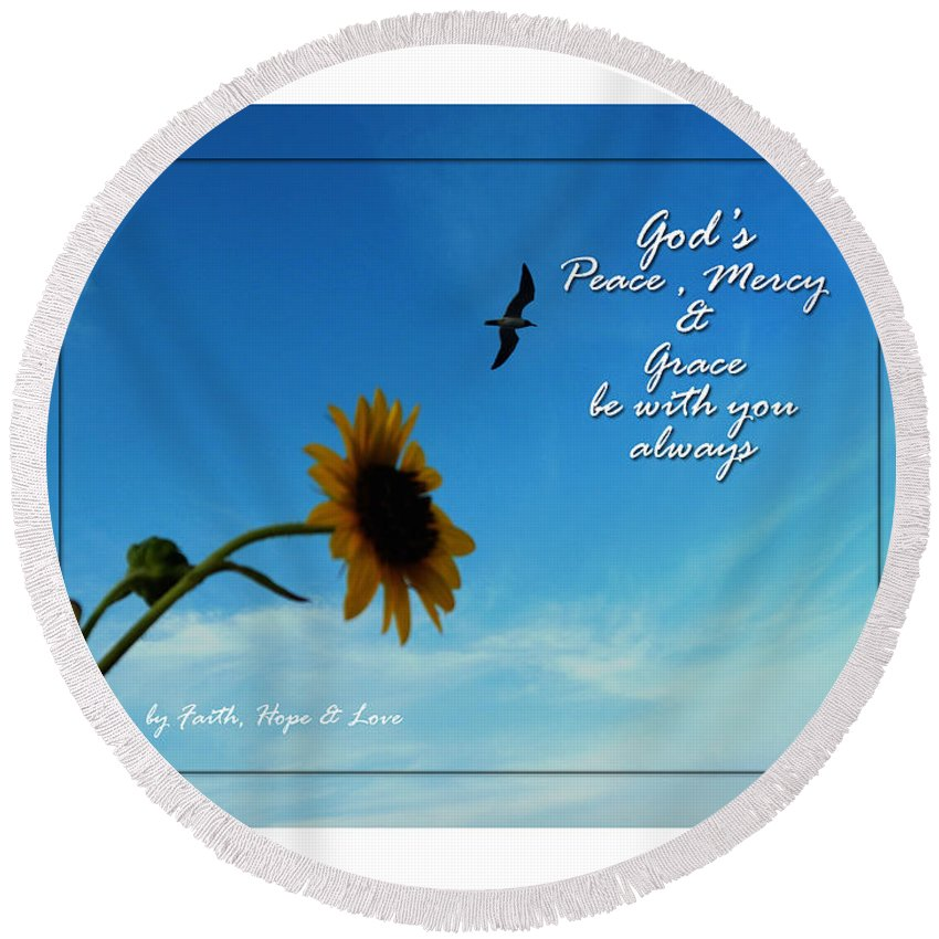 Scripture Round Beach Towel featuring the photograph Always With You by Leticia Latocki