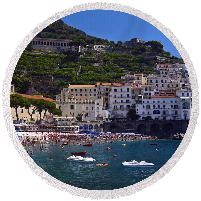 Amalfi Town Scene Round Beach Towel featuring the photograph Amalfi Beach And Town by Sally Weigand