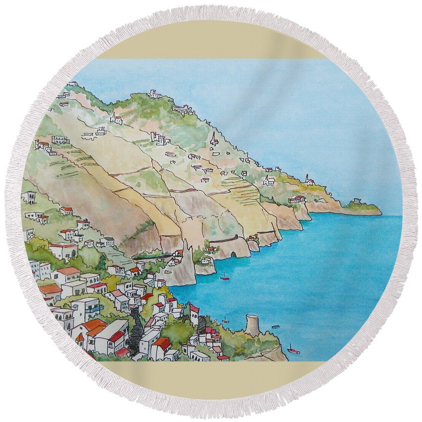 Landscape Round Beach Towel featuring the painting Amalfi Coast Praiano Italy by Mary Ellen Mueller Legault