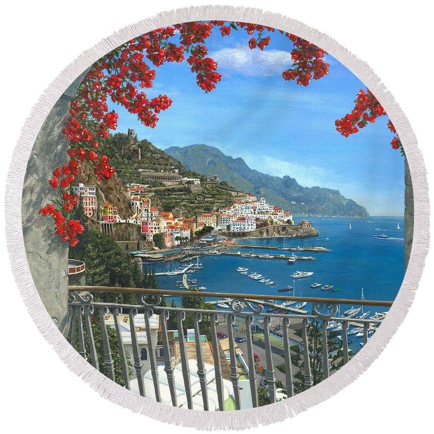 Landscape Round Beach Towel featuring the painting Amalfi Vista by Richard Harpum
