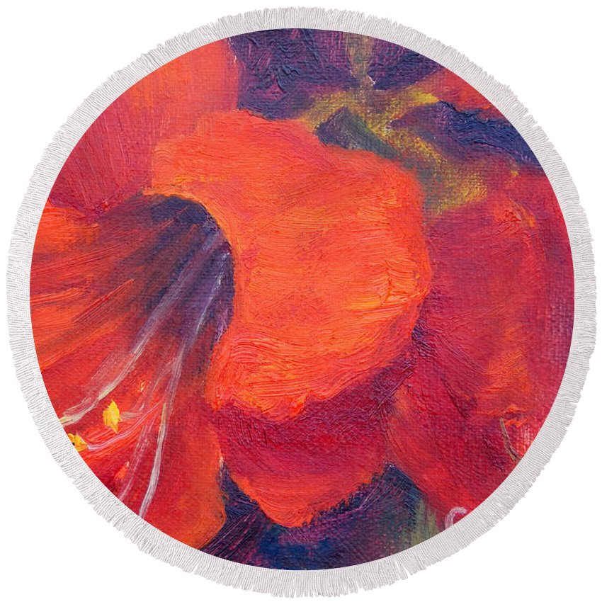 Amaryllis Flower Round Beach Towel featuring the painting Amaryllis Flower by Carolyn Jarvis