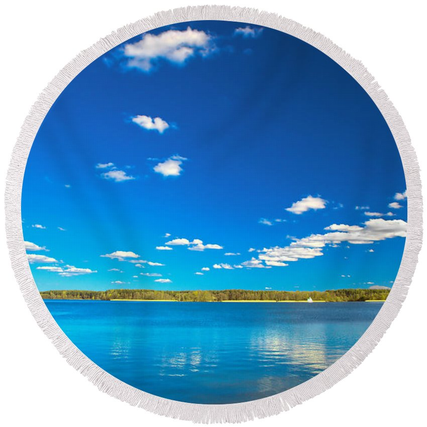Lake Round Beach Towel featuring the photograph Amazing Clear Lake Under Blue Sunny Sky by Michal Bednarek