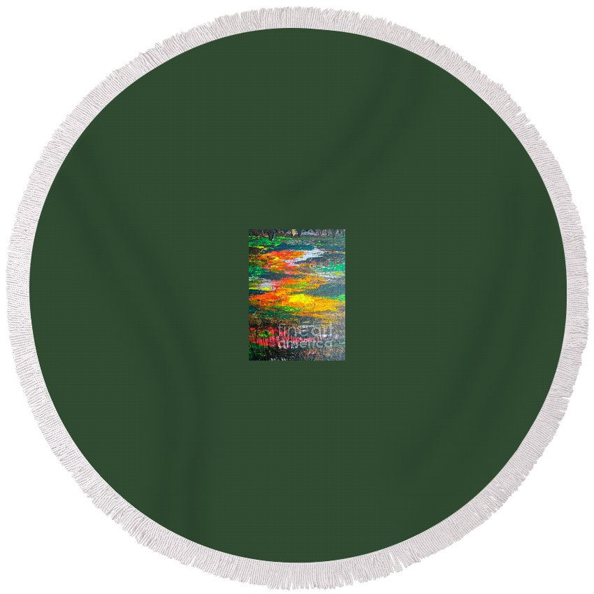 Abstract Round Beach Towel featuring the painting Amazon Jungle by Jacqueline Athmann