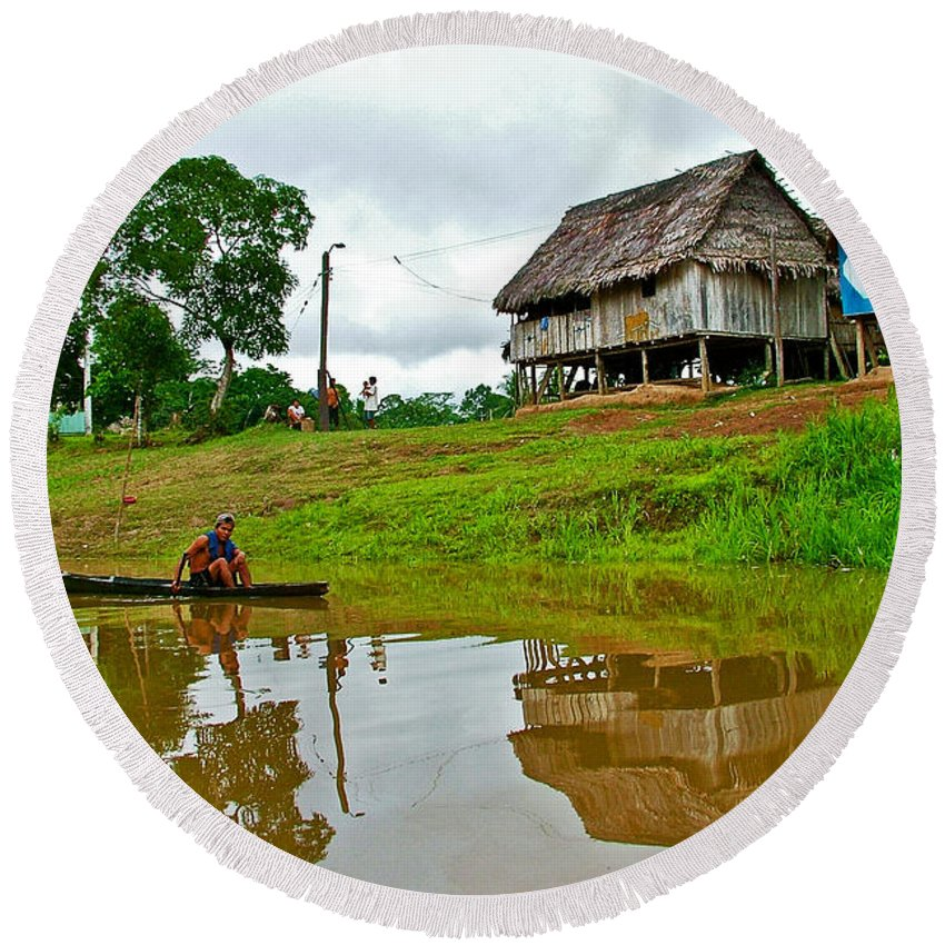 Amazon River Reflections Round Beach Towel featuring the photograph Amazon River Reflections-peru by Ruth Hager