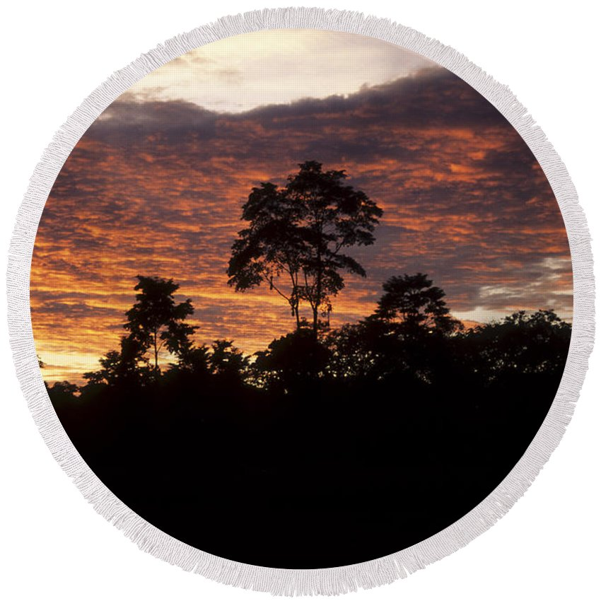 Sunset Round Beach Towel featuring the photograph Amazon Sunset by James Brunker