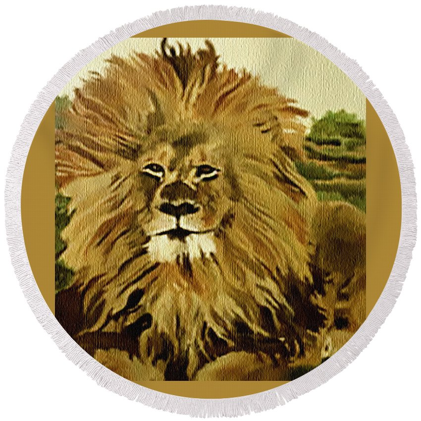 Lion Round Beach Towel featuring the painting Amena by Fallon Franzen
