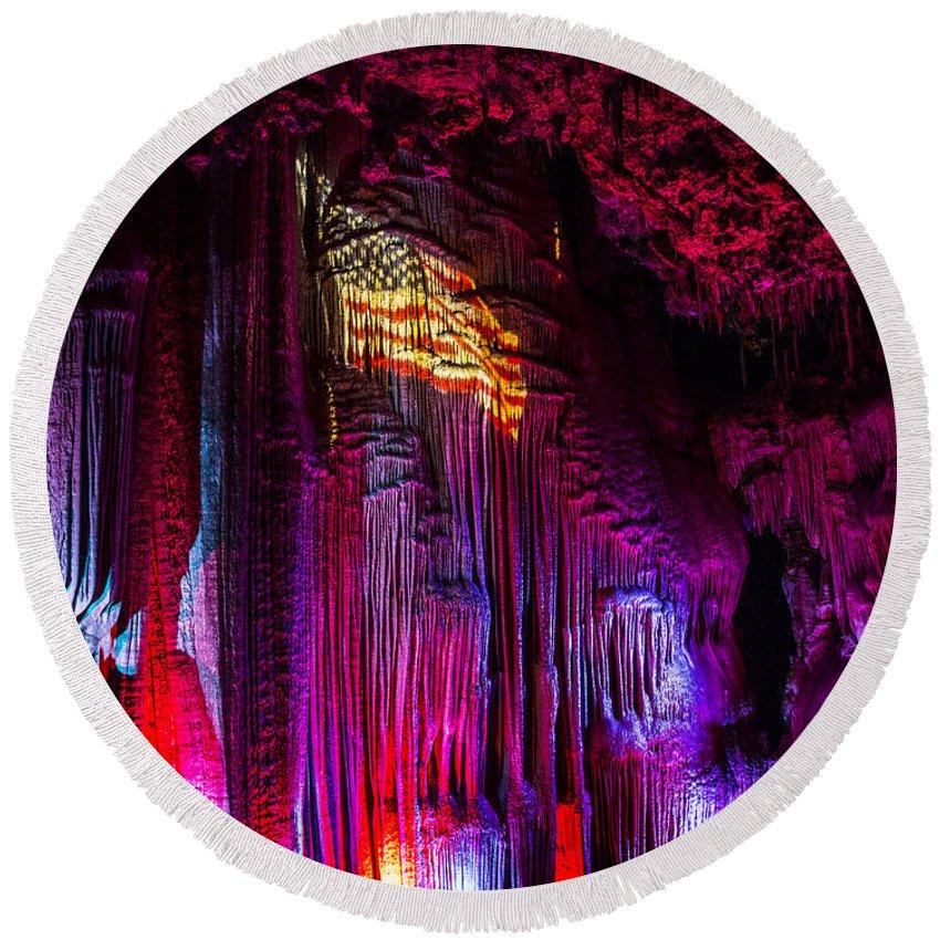 Meramec Caverns Round Beach Towel featuring the photograph America by Angus Hooper Iii