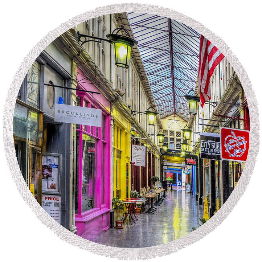 High Street Arcade Cardiff Round Beach Towel featuring the photograph America Cardiff Style by Steve Purnell