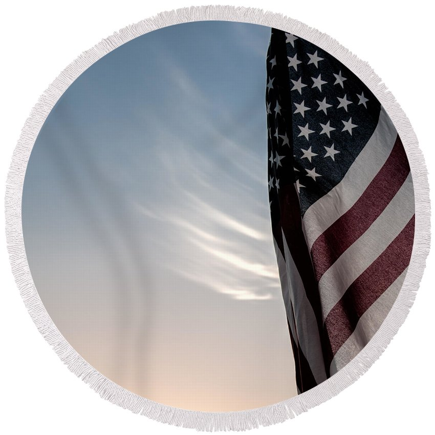 America Round Beach Towel featuring the photograph America by Peter Tellone