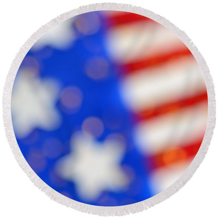 Usa Round Beach Towel featuring the photograph American Abstract by Grigorios Moraitis